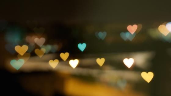 Heart-shaped lights in the darkness